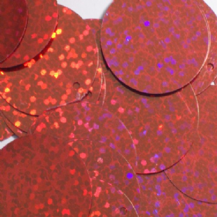 10mm Hologram Red Flat Round Sequins.